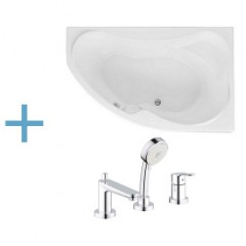 Акриловая ванна Aquanet Capri 160x100 R с каркасом и смесителем Grohe BauEdge 2511700A 00203915 , 00176459 , 00240613