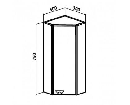 Шкаф навесной Runo Кредо 30 угловой