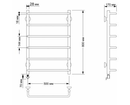 Полотенцесушитель электрический Secado Мерида 1 50х80 28/18 1679-2900