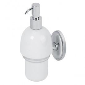 BONJOUR Дозатор жидкого мыла настенный, хром/керамика