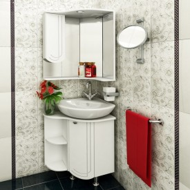 Комплект мебели для ванной Runo Бис угловой левое крыло