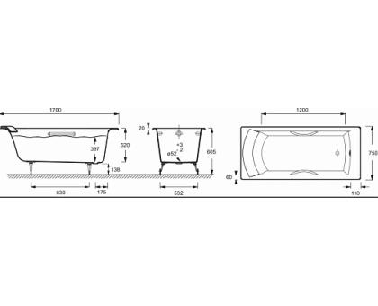 Baнна Jacob Delafon 170 x 75 см с отверстиями для ручек E2938-00