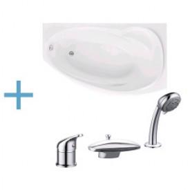 Акриловая ванна Aquanet Jersey 170x90 R с каркасом и смесителем Aquanet Practic 2 AF111-63B 00203989 , 00179346 , 00216780