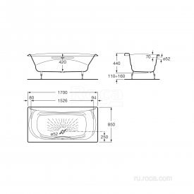 Чугунная ванна Roca Akira 2325G000R 170х85