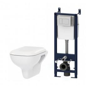 IS301.801700 Комплект инсталляция с клав белый с подвесным унитазом Like FlashClean с сид м/лифт