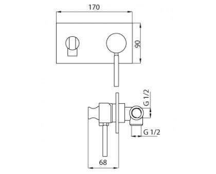 Смеситель с гигиеническим душем Cezares OLIMP-DIF-01-L