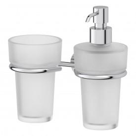 Держатель со стаканом и дозатором жидкого мыла (матовый хрусталь; хром) FBS VIZ 008