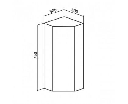 Шкаф навесной Runo Кредо 30 00000000010 угловой зеркальный