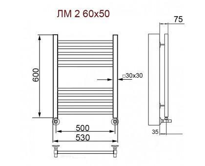 Полотенцесушитель Водяной ПК Nika с вентилями 80/50 1635-2711