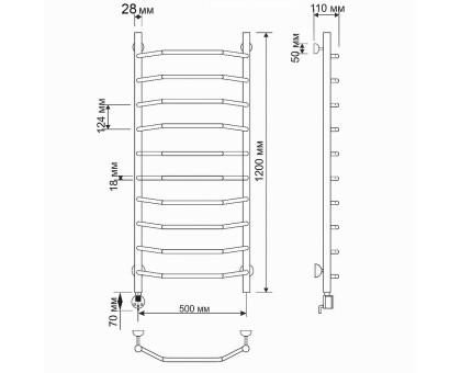 Электрический полотенцесушитель Secado Агата 1 50х120 28/18 1670-2863