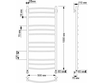 Полотенцесушитель водяной Secado Милан 3 50х100 28/18 1660-2827