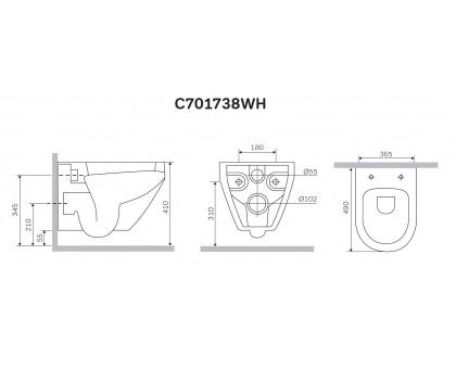 C701738WH Spirit V2.0 Подвесной унитаз без сиденья