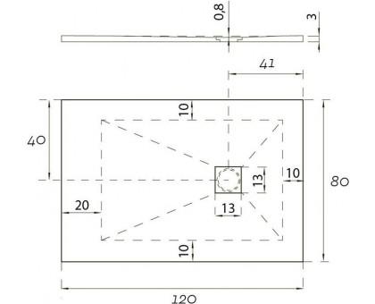 Душевой поддон Hidronatur ATS-120x80U-W