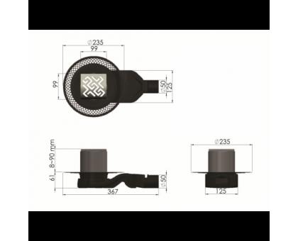 Трап водосток PLATZ Antik 150х150 матовый хром S-сифон боковой