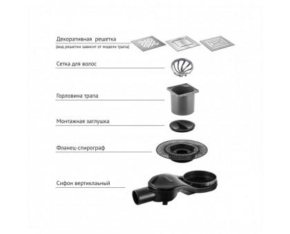 Трап водосток PLATZ Norma 100х100 глянцевый хром S-сифон боковой